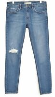 Topshop Slim Skinny BAXTER Blue RIPPED FRAYED Crop Jeans Size 10 W28 L30 L32