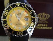 JULES JURGENSEN Mens Divers Watch with Date Window Black Strap 10ATM NOS