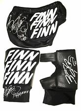 WWE FINN BALOR HAND SIGNED RING WORN TRUNKS KNEEPADS AND SLEEVE WITH PIC PROOF