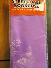PURPLE Stretchable Fabric Book cover Fits Books up to 8