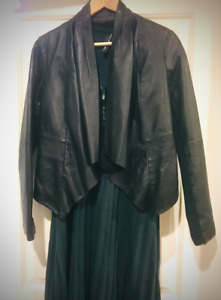 NWOT Chic Just Jeans genuine Waterfall Leather Jacket Size 8