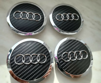4x69mm AUDI Black Carbon Wheel Center Caps Logo Emblem Badge Hub Caps Rim Caps