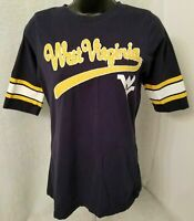 Press Box Womens Blue Yellow White West Virginia WV T Shirt Top Blouse Size M