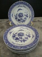 """BAWM BROS BLUE ROSE COLLECTION 6 SALAD PLATES 7 5/8"""" WIDE ROSES & BUTTERFLIES"""