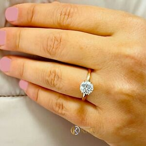14K ROSE GOLD ROUND FOREVER ONE MOISSANITE ENGAGEMENT RING SOLITAIRE 1.20