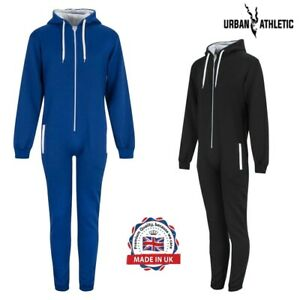 Men's Fleece Hooded Jumpsuit Zip up Longwear Pullover Romper Winter Playsuit set