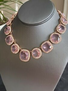 """Kate Spade Rose Gold Plated Pink Crystal Halo Basket Style Necklace Choker 15"""""""