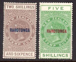 COOK ISLANDS 1921-23 Rarotonga Postal Fiscal 2s6d & 5s var M, SG 77,78 cat £55+