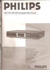 Bedienungsanleitung Instruction  Handbook of Instruction Philips CD 713