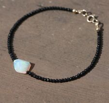 Natural Black Spinel and Welo Opal Bracelet Solid 14K Gold 14th 34th Anniversary
