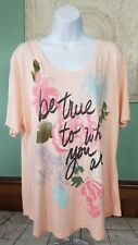 JMS Just My Size Women Top T Shirt 2X Graphic Peach Pink Rose Floral V Neck S/S