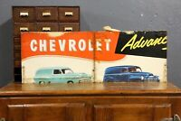 Vintage Chevy Sign Dealer Store Display Delivery Truck Old Masonite Advertising