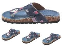 New Women's Funky Thong Sandal Black Blue Denim upper Slip-on Flat Thong Sandals