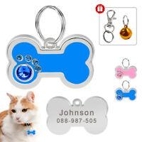 Bone Shape Personalised Pet Tags Dog Cat Disc Disk Identity Name Engraved Free