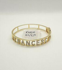 Bracciale Donna Rigido Argento 925 Placcato Oro Personalizato Nome Francesca