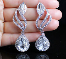 DROP DANGLE AUSTRIAN CRYSTAL RHINESTONE CHANDELIER EARRINGS BRIDAL SILVER E2170