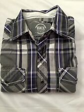 BKE Athletic Fit Mens M Shirt Black/grey Plaid Embroidered Cowboy Western Snaps