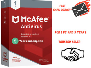 McAfee Antivirus 2020 - 1 Device 5 Year Subscription  fast email delivery,