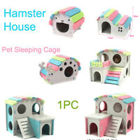 Wooden Pet Bed Nest Hamster House with Stairs Small Animal Pet Sleeping Cage