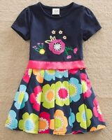 Girls Short Sleeve Party Dress Age 3 4 5 6 7 8 Yrs New Pink Pretty Kids Clothes