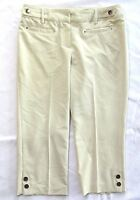 Larry Levine Petite Womens Capri Pants Dress Career Size 8 P Stretch Beige