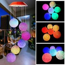 Solar Powered LED Hummingbird Wind Chime Color-Changing Light Yard Garden Decor