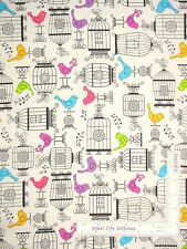 Bird Cage Birds Animal Toss Ecru Cotton Fabric QT Tail Two Kitties By The Yard