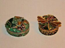 Vintage Lot of 2 Monet Mini Trinket Pill Box Dragonfly Butterfly Metal Enameled