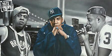Jay-Z Rap - Hand oil painting signed canvas ART Blueprint Brooklyn Nets ROC Gang
