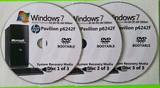 HP Pavilion p6242f Factory Recovery Media 3-Discs Set / Windows 7 Home 64bit