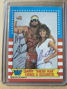 Randy Savage Elizabeth 1987 Topps Classic Autographed Signed Wrestling Card WWF