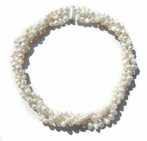 Cultured Freshwater White Baroque Pearl Three-strand Twist Necklace