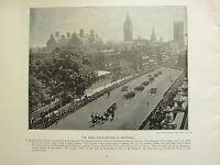 1896 Vittoriano Londra Stampa + Testo ~ The Navale Campo Batteria IN Whitehall