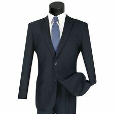 LUCCI Men's Navy Blue 2 Button Slim Fit Poplin Polyester Suit NEW