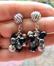 David Yurman Elements Drop Cluster Earrings Silver Black Onyx Hematite , Pouch