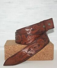 "Hand-tooled Western Cowhide Leather Belt Strap 1.875"" Wide 45"" Long Size 42"