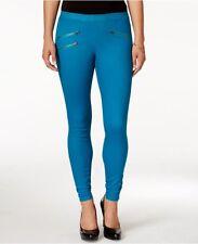 Hue Leggings Sz L Planet Blue Zippered Glossy Denim Casual Legging U15571H