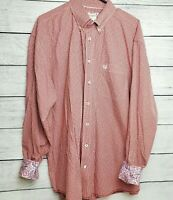 Panhandle Rough Stock Men's Red White Contrast Cuff Button Down Shirt Size XL