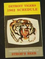 1962 Detroit Tigers Baseball Pocket Schedule Stroh's Beer #DTL5