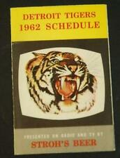 1962 Detroit Tigers Baseball Pocket Schedule Strohs Beer
