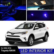 8PCS Blue Interior LED Light for 2006 - 2016 Toyota RAV4 White for License Plate