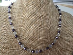 Handmade Necklace of Dusty Purple Glass Pearls with Clear and Milky Glass Beads