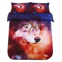 SDIII Twin Size Wolf Bedding 3D Galaxy Animal Duvet Cover Sets for Kids(Include