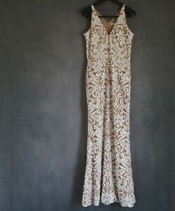 $308 Dress the Population Womens Karen Dress Mermaid Nude White Sequin Lace Gown