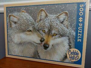 "Cobble Hill  500 piece puzzle Wolf Kiss sealed NIB 24"" x 18"""