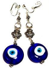 a Pair Long Evil Eye Drop Earrings Tibetan Silver Style Clip-on Boho Hippy Clips