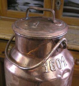 Alte sehr große Milchkanne mit Deckel Kupfer 52 cm
