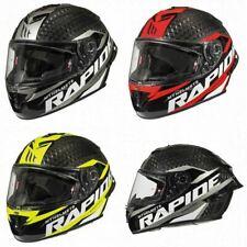 MT Rapide Pro Carbon Fibre Full Face Motorcycle Crash Helmet Lid Red Yellow Grey