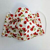 Facemask, Adult, Strawberries, Face Covering, Cotton, Washable, From UK