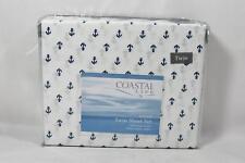 Coastal Life Three Piece Twin Sheet Set  White / Blue Anchors 100% Cotton New